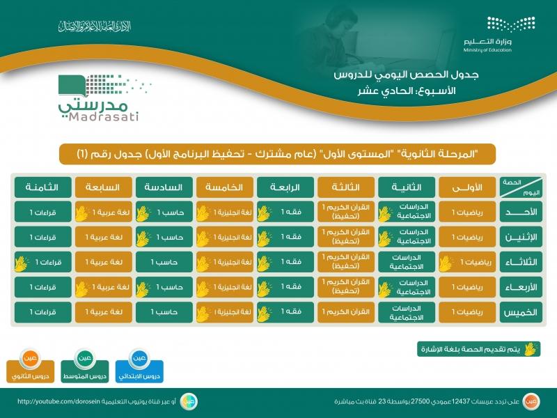جدول دروس الحصص اليومية للأسبوع الـ11 لجميع المراحل على قنوات عين 12