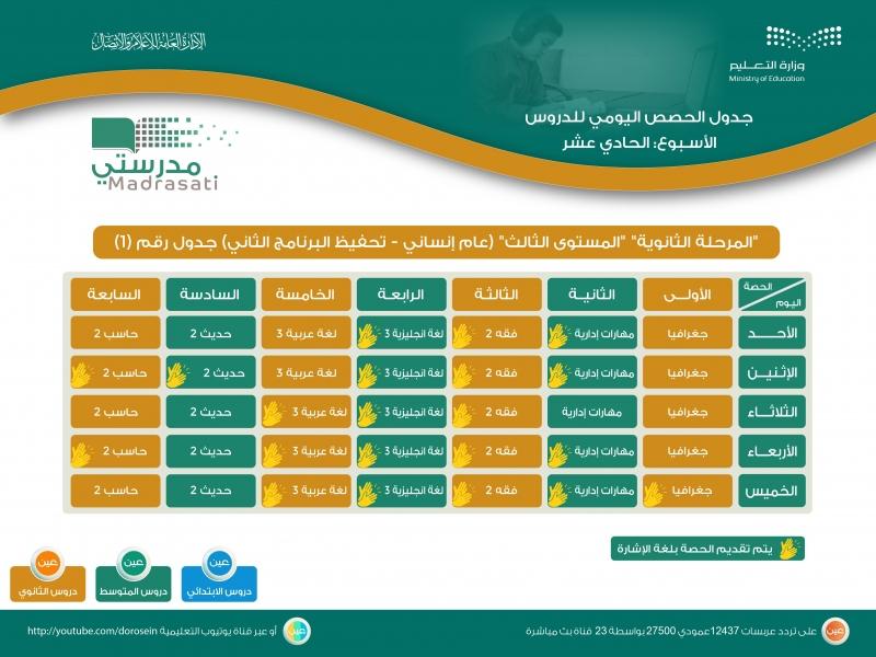 جدول دروس الحصص اليومية للأسبوع الـ11 لجميع المراحل على قنوات عين 18