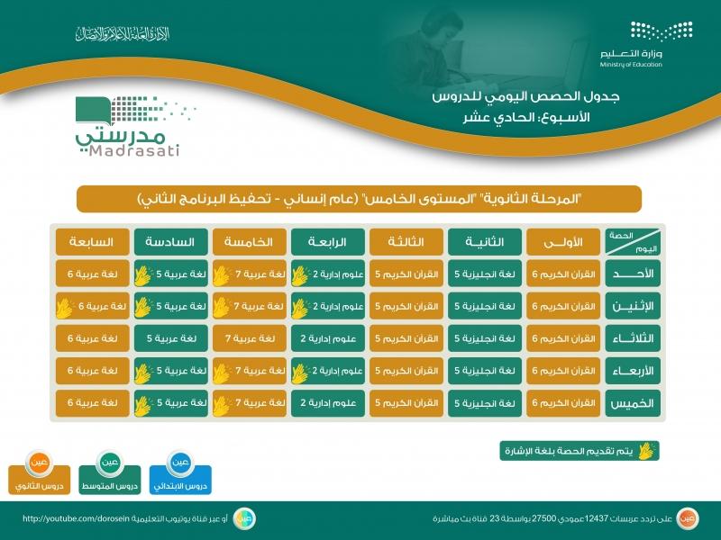 جدول دروس الحصص اليومية للأسبوع الـ11 لجميع المراحل على قنوات عين 555