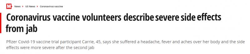 متطوعون يصفون 3 آثار جانبية شديدة لـ لقاح فايزر Pfizer الواعد 1