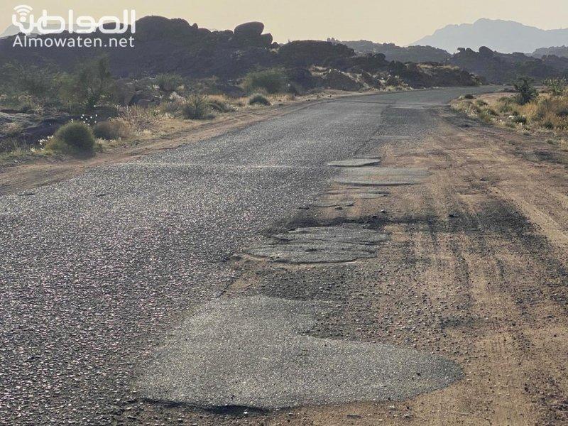 حفر عميقة تهدد حياة سالكي طريق هضب آل الشواط - المواطن