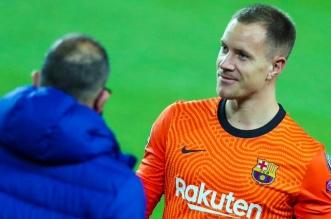 تير شتيجن في مباراة برشلونة ضد دينامو كييف