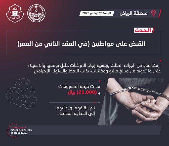 ضبط مواطنين تورطا بتهشيم السيارات وسرقة محتوياتها في الرياض