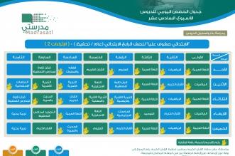 جدول دروس الاسبوع 16 الابتدائي (2)