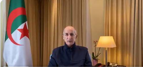 فيديو.. رئيس الجزائر بعد تعافيه من كورونا: نلتقي في أرض الوطن