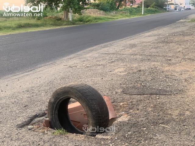 حفرة تصريف مياه الأمطار تتربص بسالكي طريق تهامة بللسمر - المواطن