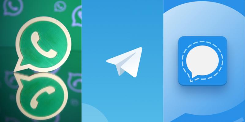 تطبيق Telegram وسيجنال وواتساب