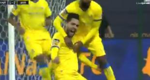 رد فعل فهد الهريفي بعد هدف النصر الثاني