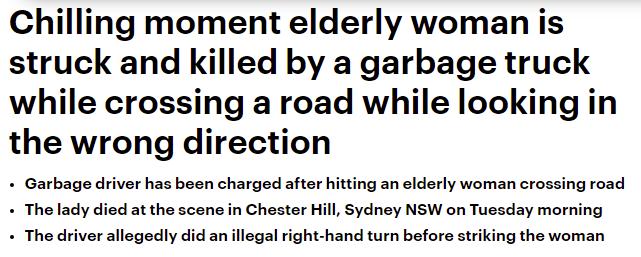 فيديو .. شاحنة قمامة تصطدم بامرأة مسنة وتتسبب في قتلها