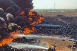 حريق في إطارات مركبات بأرض فضاء في الرياض - المواطن