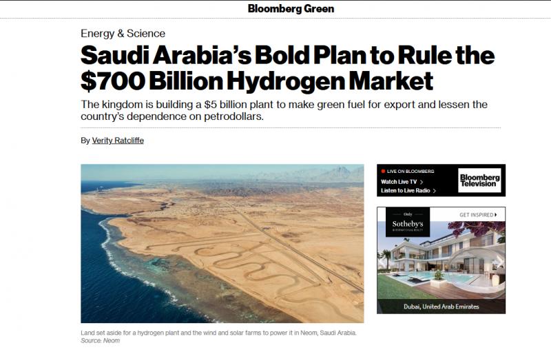 خطة السعودية الجريئة للسيطرة على سوق الهيدروجينالأخضر