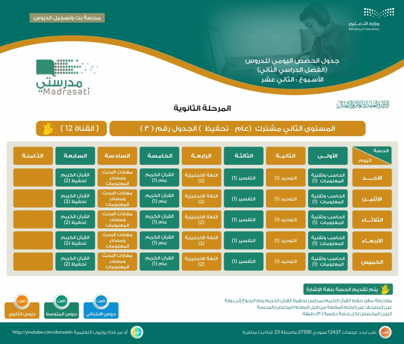 التعليم تنشر جدول دروس الحصص اليومية للأسبوع الثاني عشر على عين - المواطن