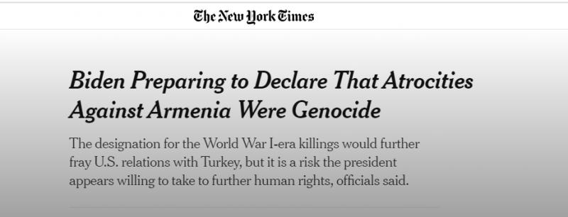 الولايات المتحدة تتحرك لتصنيف مذبحة الأرمن إبادة جماعية