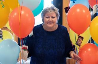 احتفال رئيسة وزراء النرويج بعيد ميلادها