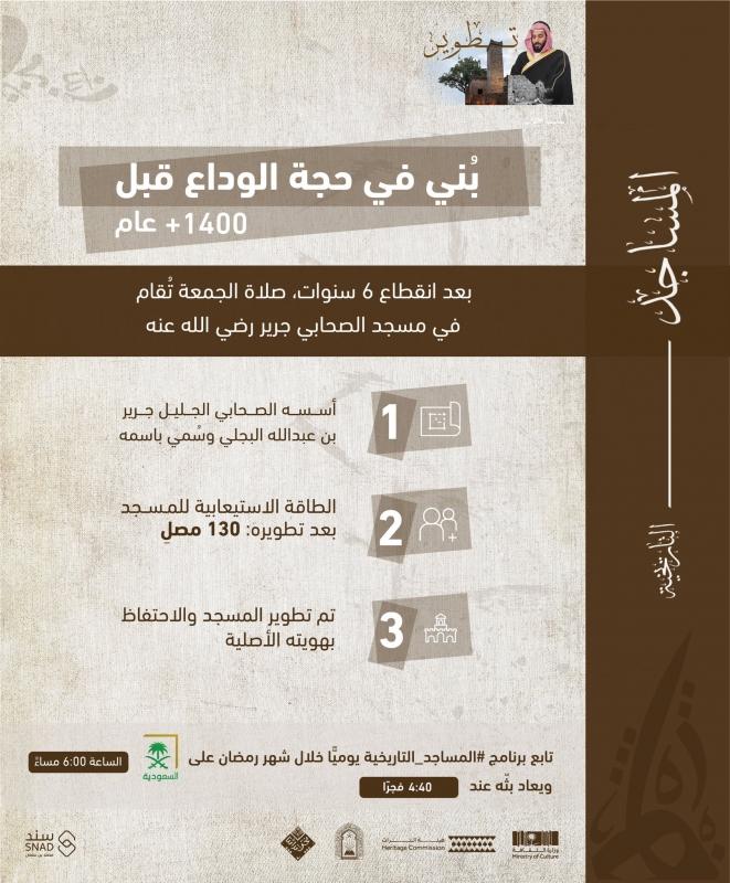رفع الأذان بمسجد جرير البجلي عبر مشروع ولي العهد لتأهيل المساجد التاريخية - المواطن