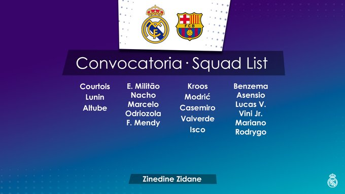 قائمة الريال ضد برشلونة