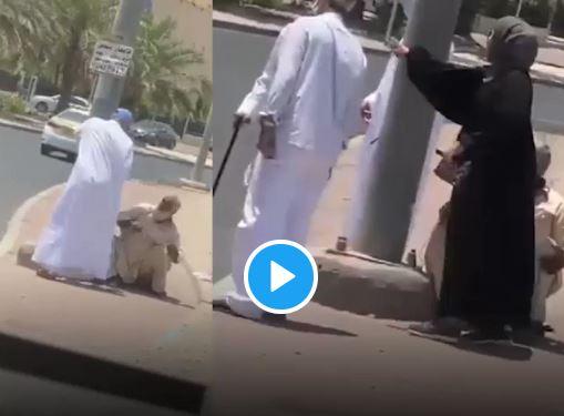 فزعة مواطنة كويتية للدفاع عن مسن تعرض للإهانة والضرب والركل
