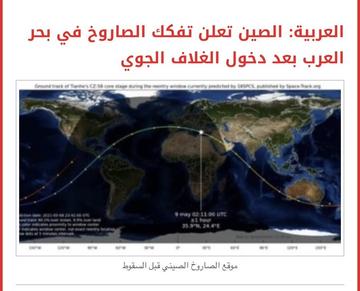 بعد عبوره أجواء السعودية.. بحر العرب المثوى الأخير لـ الصاروخ الصيني - المواطن