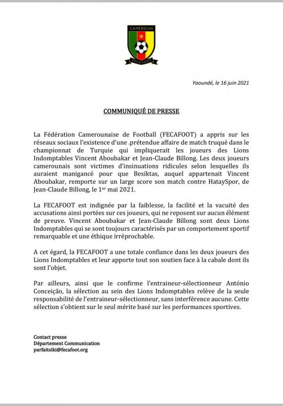 بيان الاتحاد الكاميروني