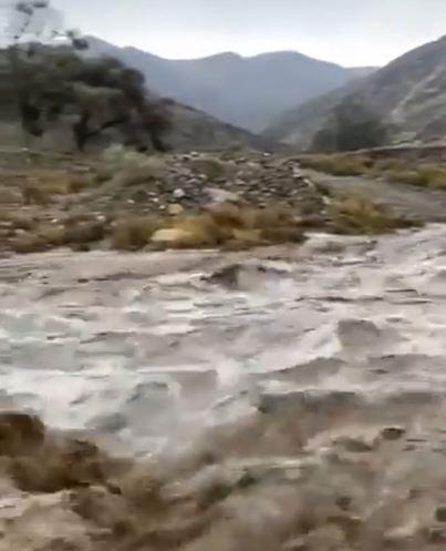 فيضان الشعاب بعد سيل وادي بوا جنوب الطائف