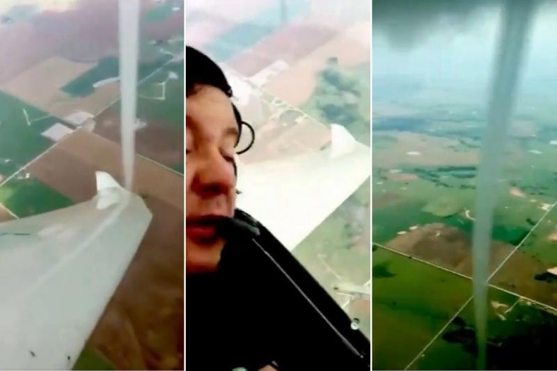 لحظة مثيرة لطيار يدخل في إعصار ويصوره !