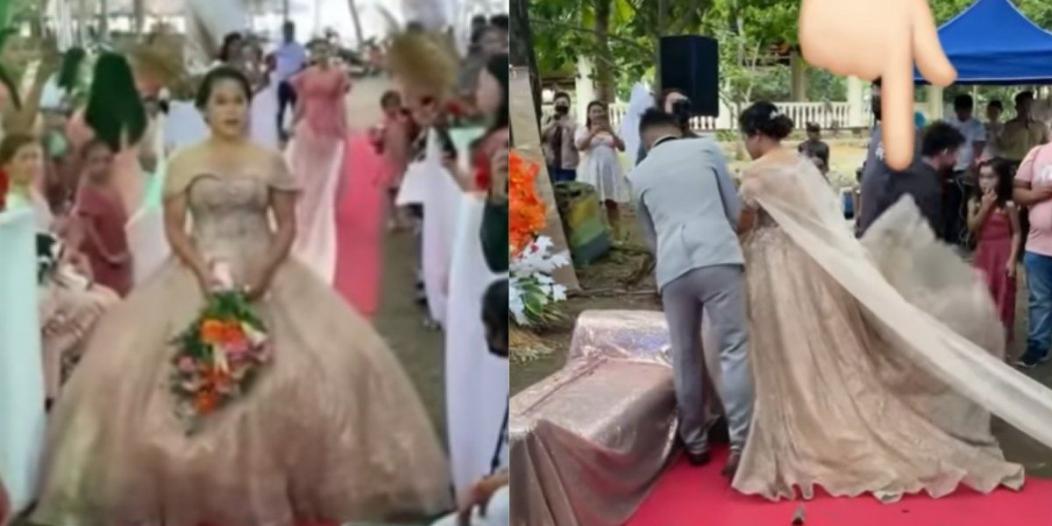 رجل تحت فستان الزفاف !