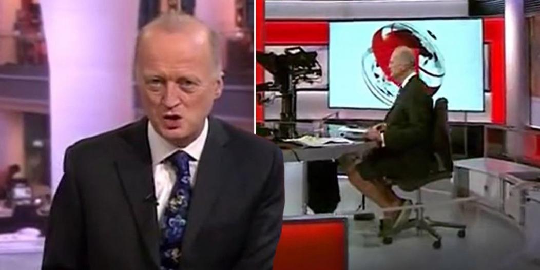 مذيع BBC يقدم نشرة الأخبار بـ شورت !