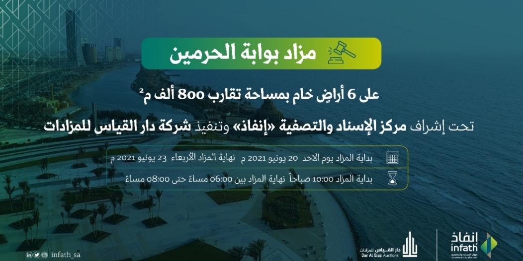 مزاد بوابة الحرمين يطرح 800 ألف متر من الأراضي الخام في جدة