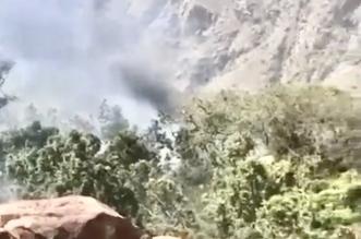 نشوب حريق بإحدى الغابات في منطقة وعرة شمال النماص - المواطن