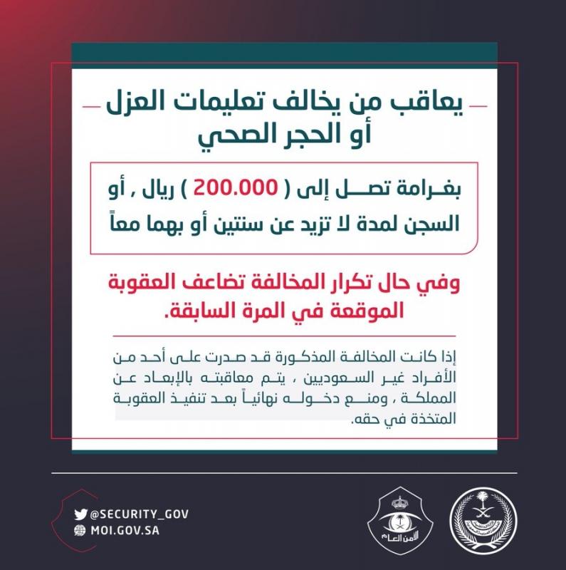 غرامة مخالفة تعليمات العزل والحجر الصحي تصل لـ200 ألف ريال - المواطن