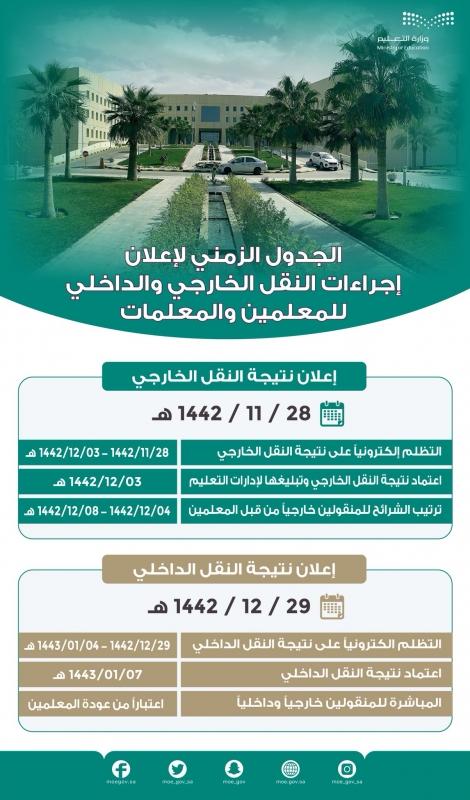 متحدث التعليم: الإعلان عن نتائج حركة النقل الداخلي والخارجي 28 ذي القعدة - المواطن