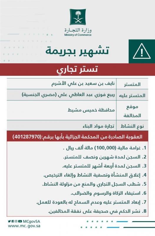 السجن وغرامة 100 ألف ريال في جريمة تستر تجاري بخميس مشيط - المواطن