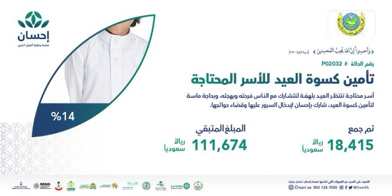 منصة إحسان تدعو للتبرع لتأمين كسوة العيد للأسر المحتاجة - المواطن