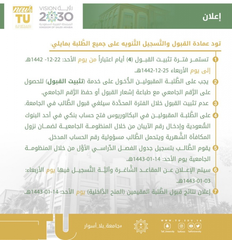جامعة الطائف تعلن غدًا عن نتائج القبول للعام الدراسي 1443هـ - المواطن