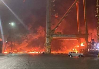 انفجار ضخم بسفينة تجارية قبالة جبل علي في دبي