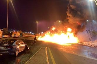 المدني: لا إصابات أو وفيات في حريق الناقلة بطريق مكة - جدة - المواطن
