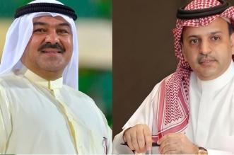 رئيس العربي الكويتي عبد العزيز عاشور ورئيس النصر مسلي آل معمر