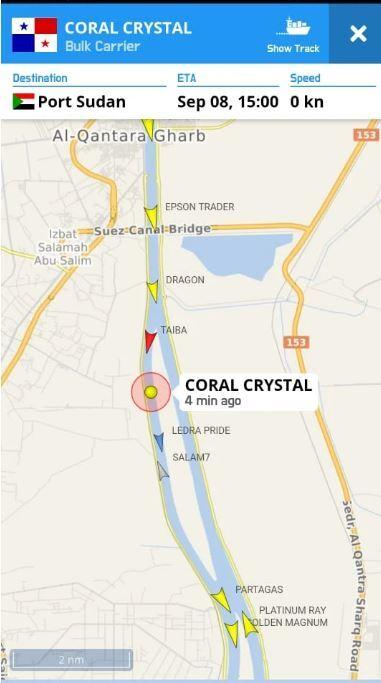 جنوح سفينة بقناة السويس كانت في طريقها إلى السودان