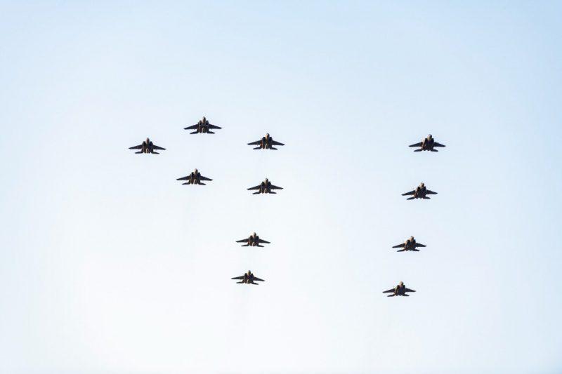 المقاتلات السعودية تشكل الرقم 91 فوق سماء مدينة تبوك - المواطن