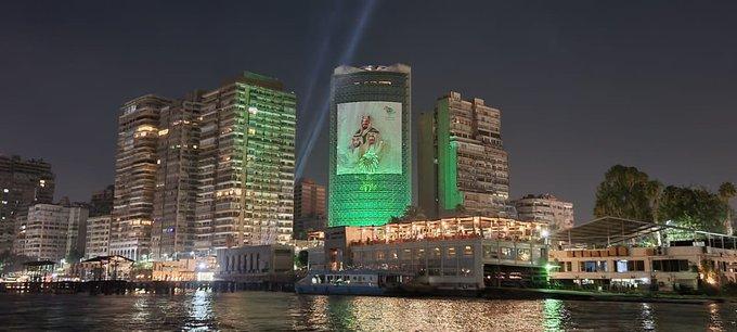 سفارة المملكة بـ القاهرة تتوشح باللون الأخضر - المواطن