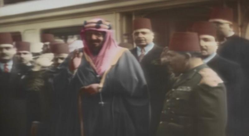 فيلم ملون نادر يعرض لأول مرة لزيارة الملك المؤسس إلى مصر - المواطن