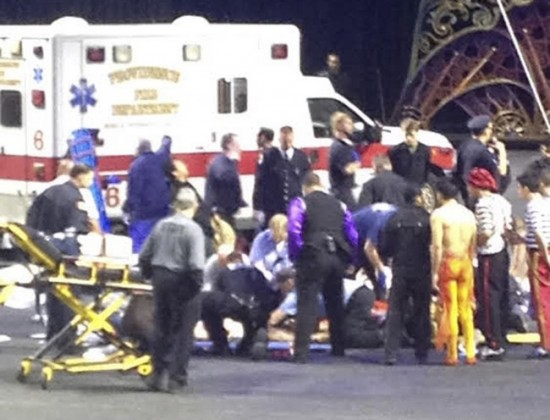 Emergency personnel attend to injured performers after a scaffolding collapsed during a Ringling Bros. and Barnum & Bailey Circus performance in Providence, Rhode IslanD