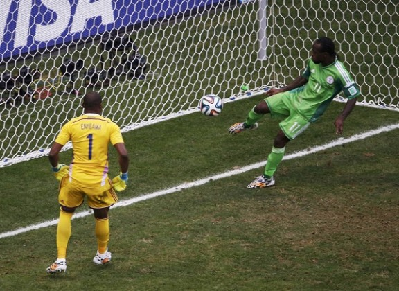 Nigeria's Moses clears a shot by France's Benzema off the goal line during their 2014 World Cup round of 16 game at the Brasilia national stadium in Brasilia