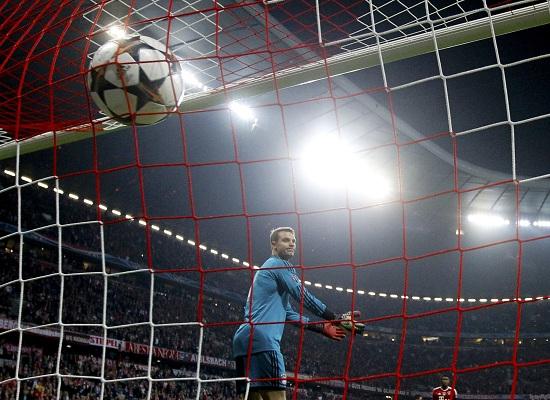 Bayern Munich's goalkeeper Neuer reacts after Real Madrid's Ronaldo scored a free kick during their Champions League semi-final second leg soccer match in Munich