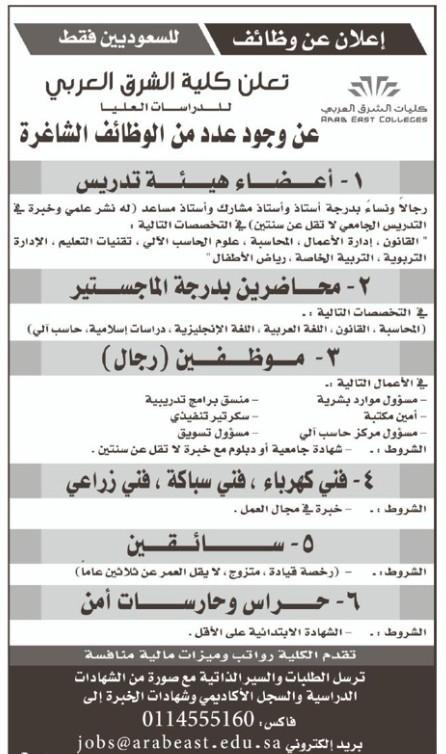 بمزايا تنافسية وظائف شاغرة لدى كلية الشرق العربي للدراسات العليا صحيفة المواطن الإلكترونية