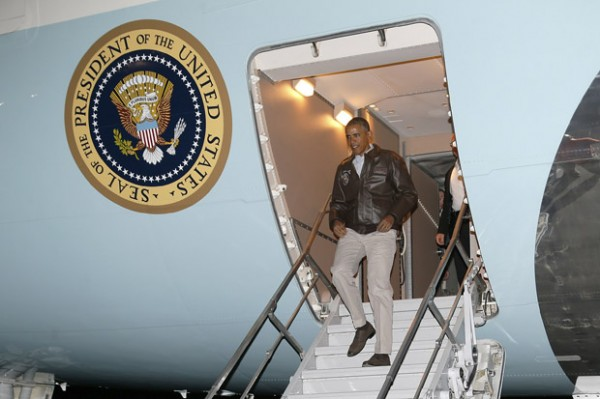 U.S. President Barack Obama arrives aboard Air Force One at Bagram Air Base in Kabul