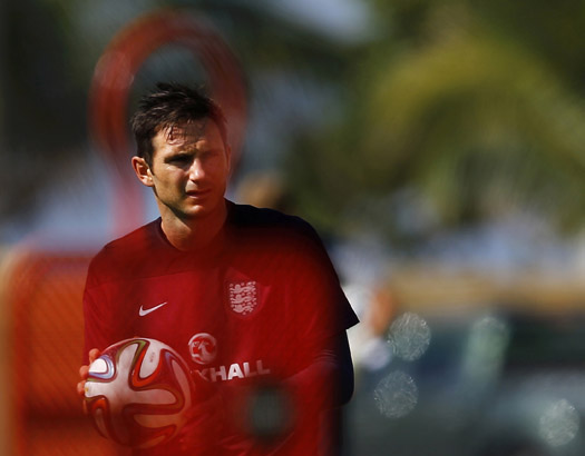 England's Lampard attends a training session for the 2014 World Cup in Rio de Janeiro