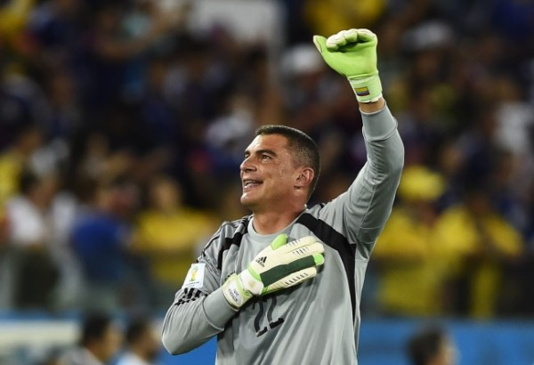 Colombia's goalkeeper Faryd Mondragon celebrates at the end of their 2014 World Cup Group C soccer match against Japan at the Pantanal arena in Cuiaba