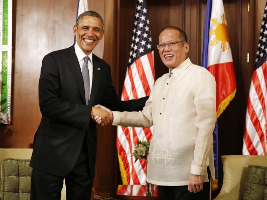 U.S. President Obama meets with President Aquino of the Philippines at the Malacanang Palace in Manila