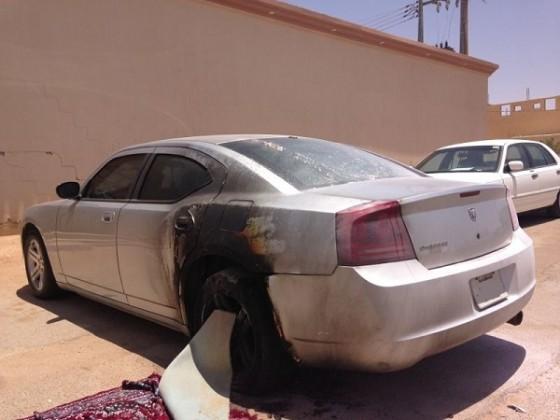النيران تشتعل في سيارة مواطن بعرعر
